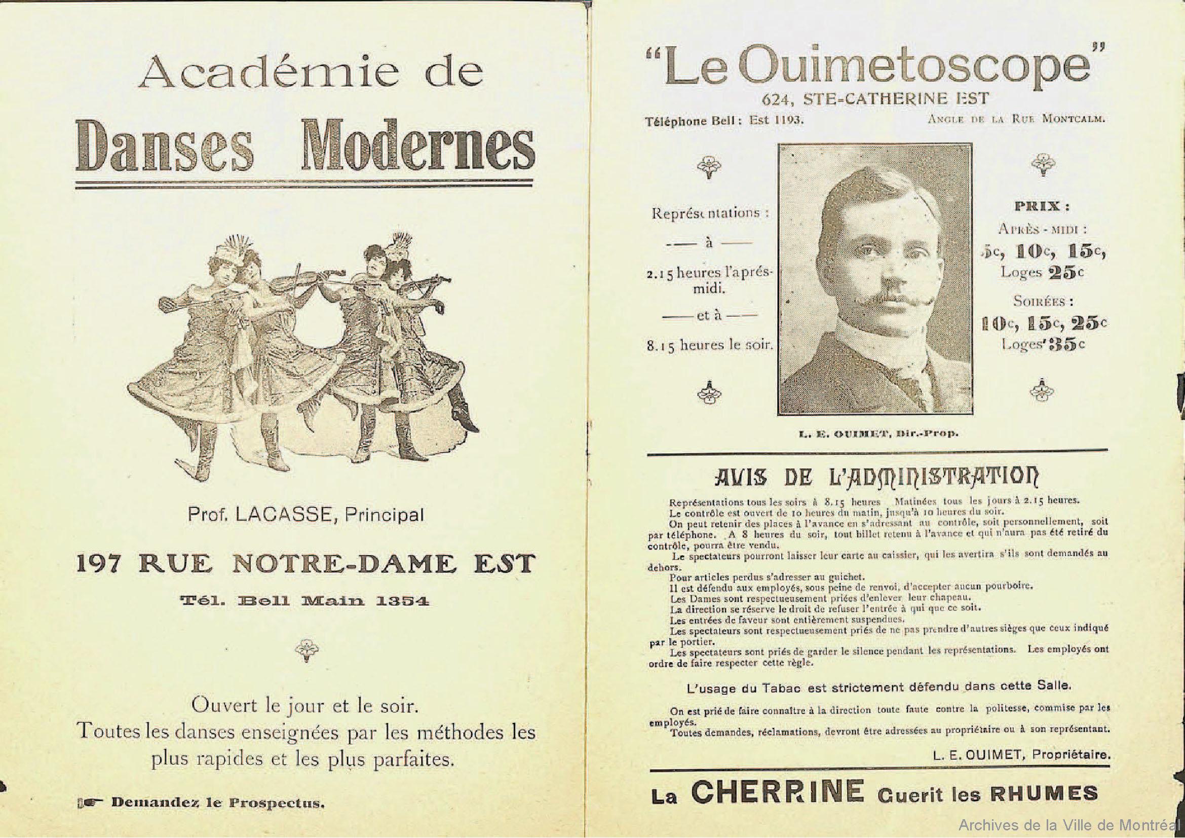 Page «Le Ouimetoscope» donnant des informations sur le cinéma.