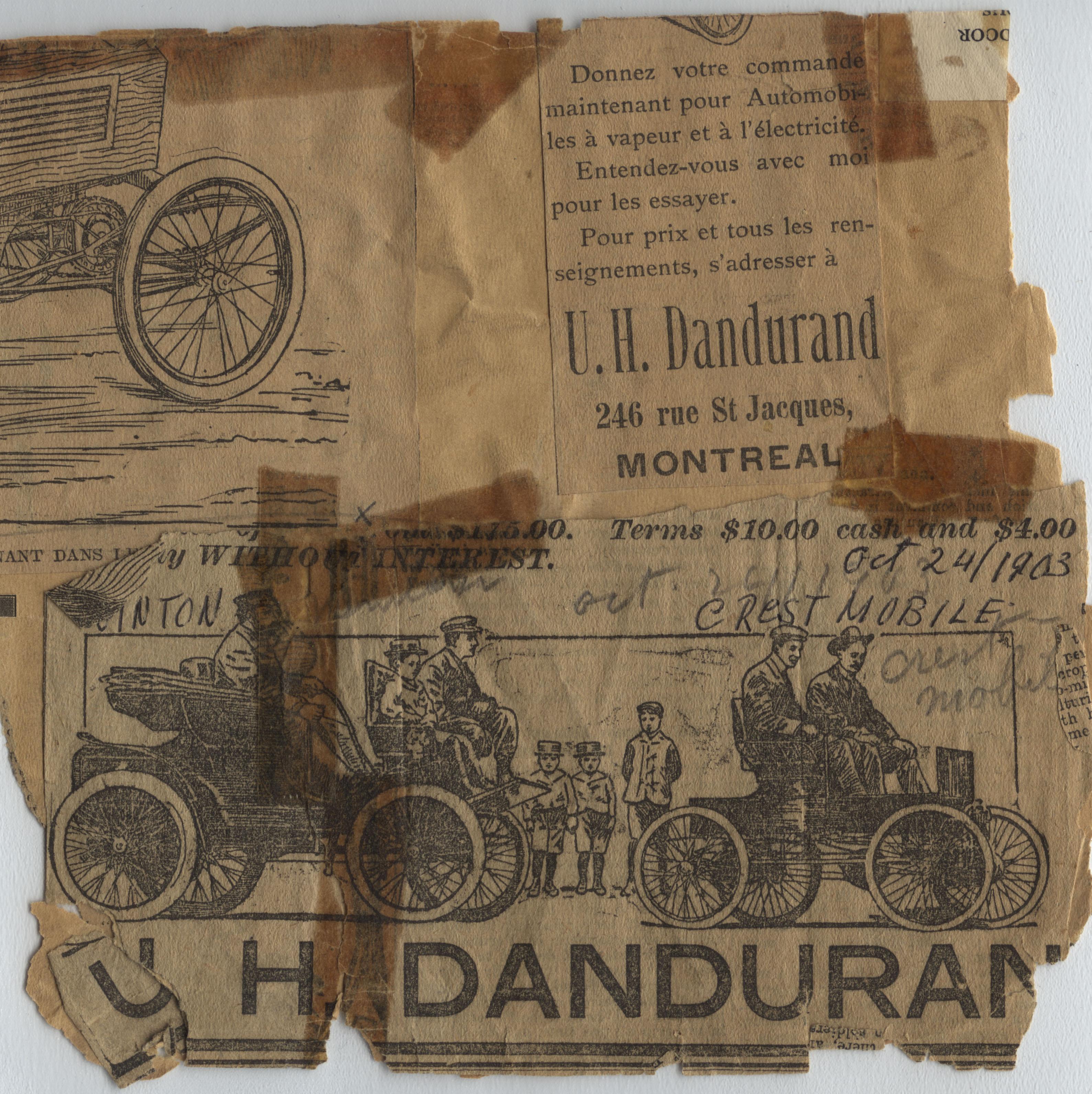 Publicité pour les automobiles à vapeur et à l'électricité parue le 24 octobre 1903