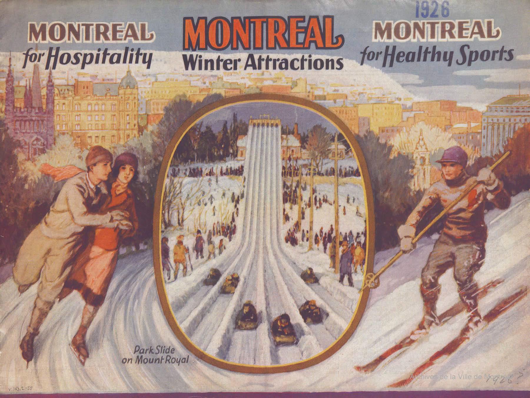 Guide touristique en couleurs montrant un couple patinant à droite, des glissoires au centre et un skieur à gauche.