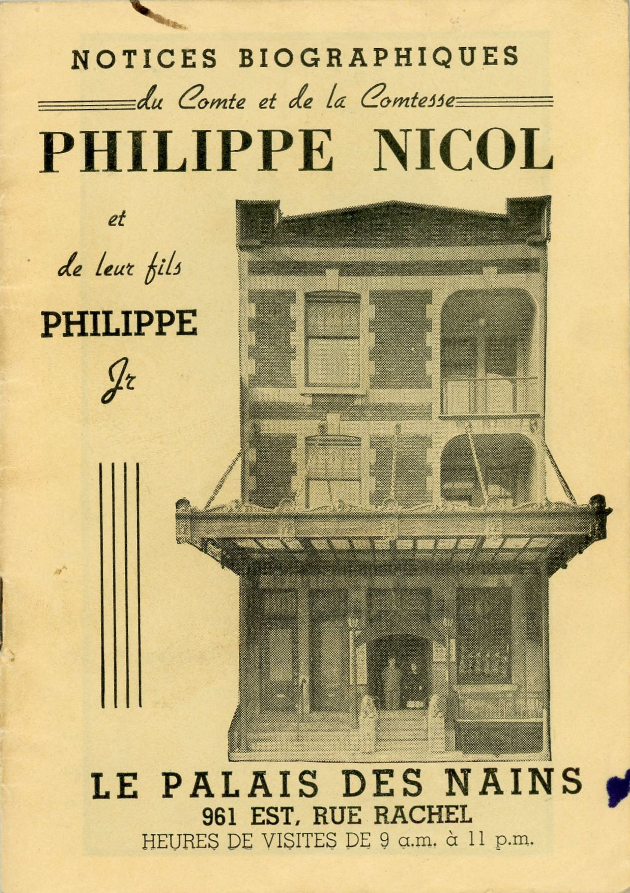 Page couverture d'une brochure montrant la maison du Palais des Nains avec comme titre Notices biographiques du Comte et de la Comptesse Philippe Nicol et de leur fils Philippe Jr
