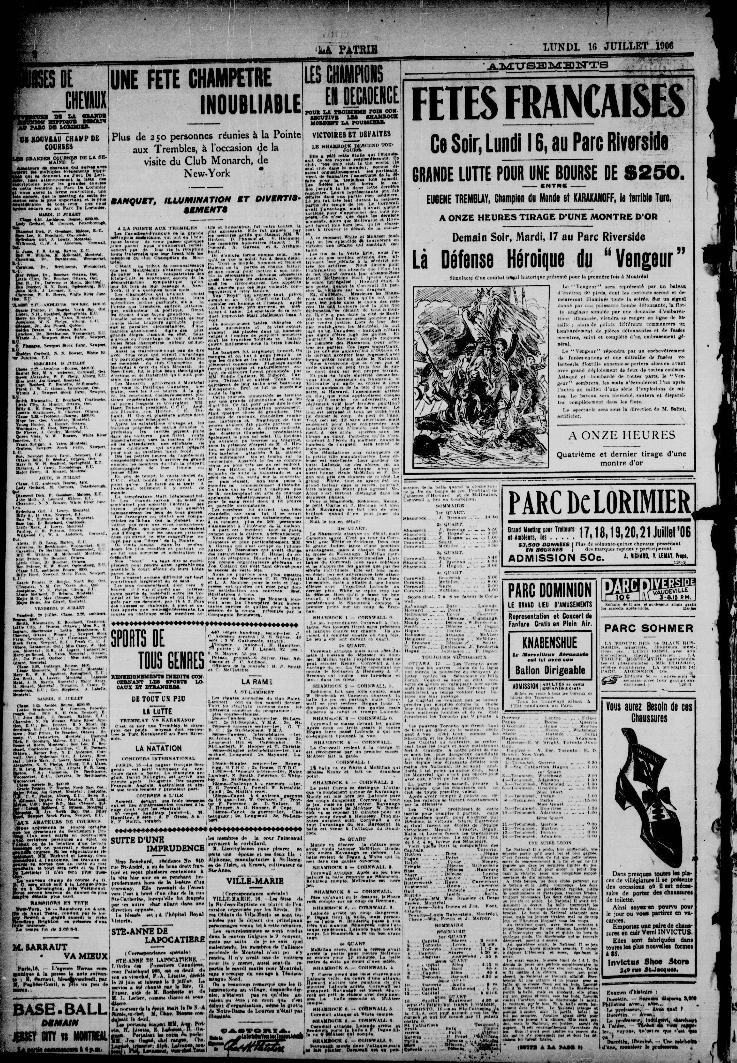 Page du journal La Patrie du 16 juillet 1906 annonçant les fêtes françaises au parc Riverside