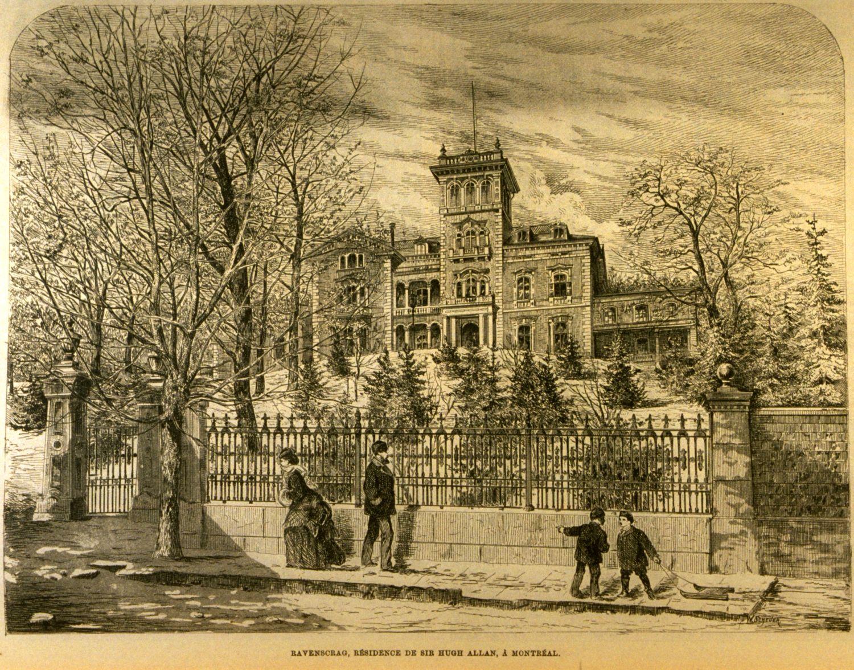 Gravure représentant la résidence de Sir Hugh Allan.