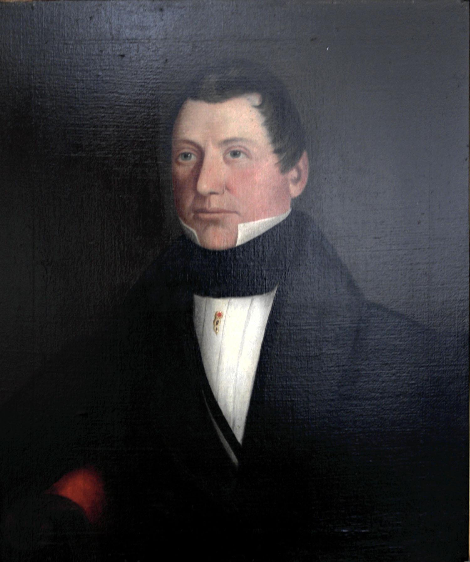 Peinture représentant un homme d'âge mûr en costume du début du XIXe siècle.