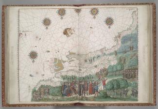 Représentation de la côte est de l'Amérique du Nord datant de 1547. Le cartographe a placé le Nord en bas du dessin. Cartier serait un des personnages.