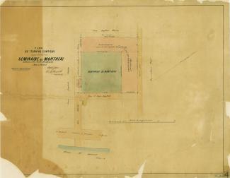 Plan en couleur montrant des terrains appartenant au Sulpiciens.