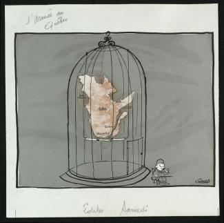 Caricature de Girerd montrant le Québec dans une cage à oiseau, un soldat assis devant la porte.