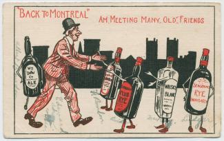 Carte postale en noir et rouge montrant un homme qui rencontre ses « amis » les bouteilles d'alcool.
