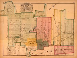 Plan en couleur montrant entre autres Outremont et Sain-Louis-du-Mile-End