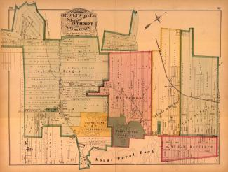 Carte présentant le tracé des rues de différentes municipalités, parmi lesquelles « Saint-Louis du Mile End » apparaît. On peut également y voir les inscriptions « Mile End Station » ainsi que « Mile End P.O. ».
