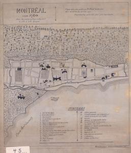 Copie d'un plan montrant Montréal vers 1760