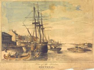 Bateaux dans le port de Montréal en 1830, dont un canot et un voilier