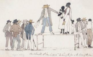 Aquarelle montrant un marché d'esclaves : un homme blanc vend une famille noire, ils sont sur une table et à leur gauche se trouvent des hommes blancs