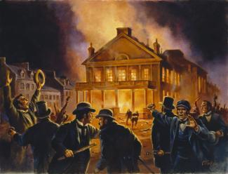 Tableau représentant le parlement de Montréal en flamme dans la nuit du 25 avril 1849