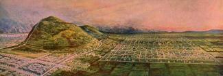 Illustration colorée de la ville de Mont-Royal et du mont Royal comme de luxuriant havres de nature.
