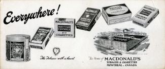 Publicité des produits de la Macdonald Tobacco
