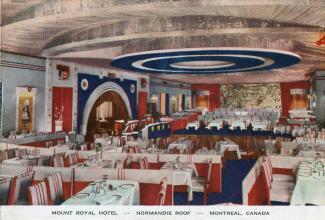 Carte postale colorisée montrant l'intérieur d'un restaurant.
