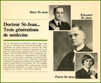 Encadré d'une revue avec la photo des trois générations de St-Jean qui ont été médecins.