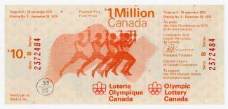Billet de loterie olympique pour le tirage du 28 septembre 1975.