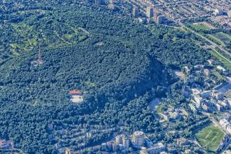 Vue aérienne du mont Royal