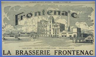 Illustration de périodique montrant la brasserie Frontenac.