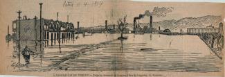 Gravure tirée d'un journal montrant une section de la ville inondée.