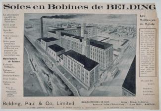Publicité pour les soies en Bobines de Belding avec une image de la manufacture au milieu.