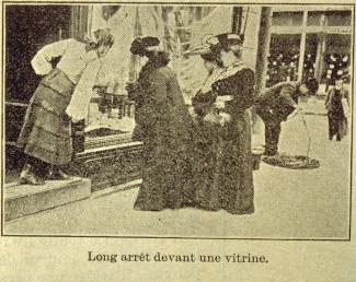 Illustration de périodique montrant des femmes observant une vitrine de boutique.