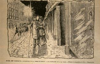 Illustration montrant un homme et une femme marchant sur le trottoir en hiver et longeant des vitrines de grands magasins.