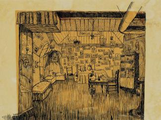Dessin à l'encre sur papier représentant l'intérieur d'un appartement en 1917