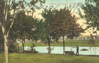Carte postale colorée dans le parc La Fontaine