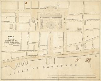 Projection d'un aménagement de la ville en 1839 pour la section qui va aujourd'hui du fleuve Saint-Laurent au Champ-de-Mars avec au centre la place Jacques-Cartier.