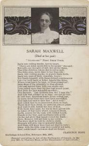 Carte postale couleur avec un poème en l'honneur de Sarah Maxwell.
