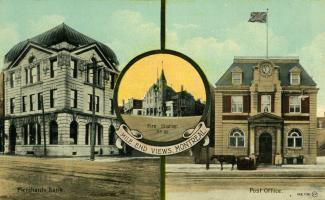 Carte postale montrant la station de pompier no 30, la Merchants Bank et le bureau de poste.