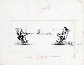Caricature montrant les tiraillements entre le français et l'anglais