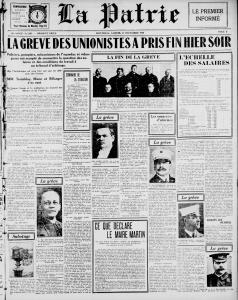 """Une du journal La Patrie du 14 décembre 1918 avec en titre \""""La grève des unionistes a pris fin hier soir\""""."""