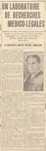 Article de journal intitulé « Un laboratoire de recherches médico-légales »  comportant aussi une photo du docteur Wilfrid-Derome.