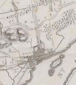Carte des rues et routes du secteur du coteau Saint-Louis