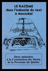 """Page couverture d'un mémoire portant le titre \""""Le racisme dans l'industrie du taxi\"""""""