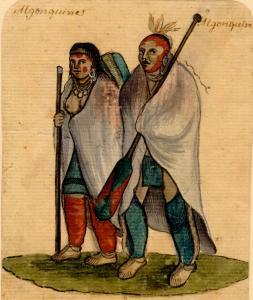 Aquarelle présentant un couple d'Algonquins du milieu du XVIIIe siècle, en costume.