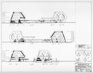 Plan d'un pavillon thématique par la firme Affleck, Desbarats, Dimakopoulos, Lebensold & Sise
