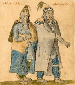 Aquarelle présentant un couple d'Abénaquis du milieu du XVIIIe siècle, en costume.