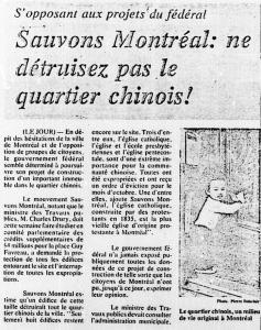 Le mouvement Sauvons Montréal s'oppose à la construction du Complexe Guy- Favreau dans cet article du journal Le Jour, du 5 mai 1976.