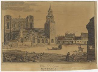 Illustration de la Place d'Armes vue vers le sud, avec l'église devant la basilique Notre-Dame.