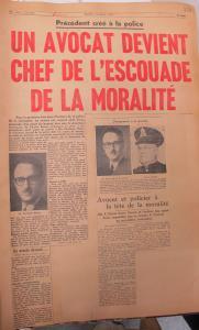 Coupure du journal Montréal Matin annonçant la nomination de Pacifique Plante comme chef de l'escouade de la moralité