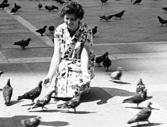 Une femme agenouillée nourrit les oiseaux.