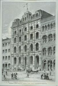 Illustration montrant une scène de rue avec la banque Jacques-Cartier en 1873