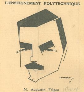 Caricature du visage d'un homme avec de gros sourcils et une moustache.