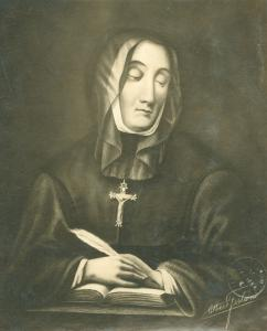 Reproduction d'un dessin au fusain de Mère d'Youville d'Albert Ferland.