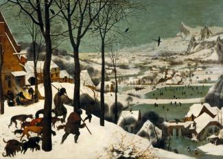 Tableau hivernal Les Chasseurs dans la neige (1565) du peintre Peter Brueghel. En arrière-plan se trouvent des joueurs qui utilisent des bâtons courbés pour jouer avec un objet sur ce qui s'apparente à une patinoire.
