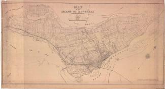Plan ancien de l'île de Montréal sur lequel on reconnaît des lots, des rangs et des montées.